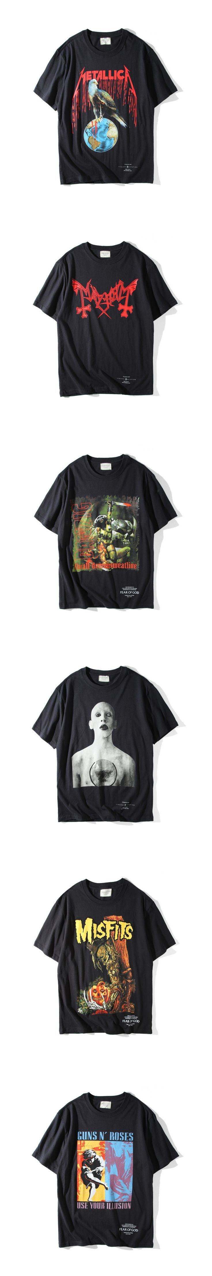 2017 Top Quality Fear Of God Fourth Collection Rock Band Printed T Shirt  Fear Of God Kany West T-Shirt Hip-Hop Tee