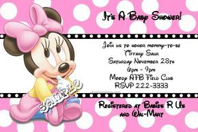 Minnie Mouse Disney Baby Shower Invitations ANY COLOR SCHEME - ALL CHARACTERS - Get these invitations RIGHT NOW. Design yourself online, download and print IMMEDIATELY! Or choose my printing services. No software download is required. Free to try!