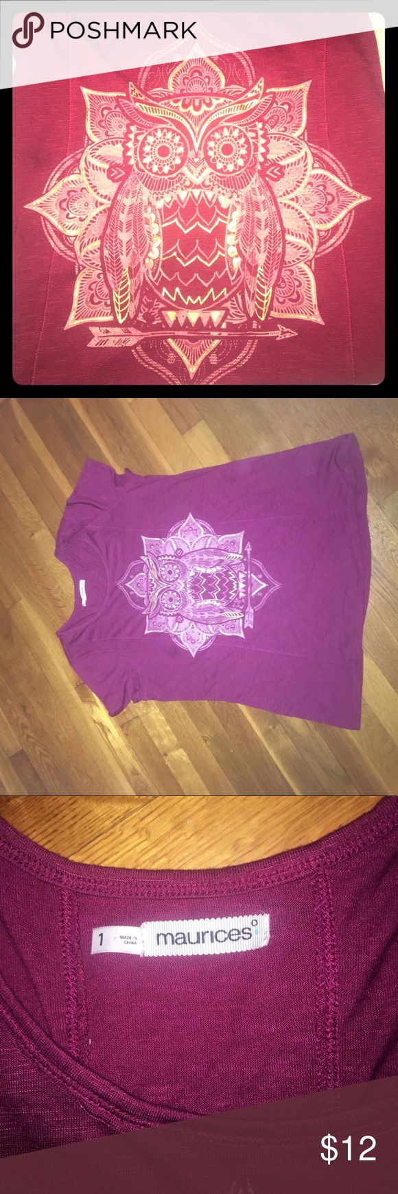 Owl shirt Size 1 Maurice's owl tshirt burgundy colored with gold and pink owl Maurices Tops