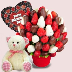 Happy Valentines Day Package - Fruit Bouquet, Fruit Bouquets, Fruit Flowers - Fruit basket and gift baskets - delivery London. Fruity Lux London