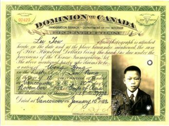 """Source: Certificate Origin: 1923 This is a certificate indicating that Leo Tow paid $500, a Head Tax paid by the few Chinese immigrants to the Canadian government. On July 1st the Canadian government passed a legislation prohibiting Chinese immigrants. The Chinese called this day, """"Humiliation Day"""". From 1923-1947 only 15 immigrants were allowed in Canada."""
