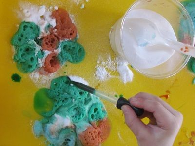 Bubble-filled explosions! A fun volcano-esque science experiment that is open-ended and child centered enough to be set up as a learning center!