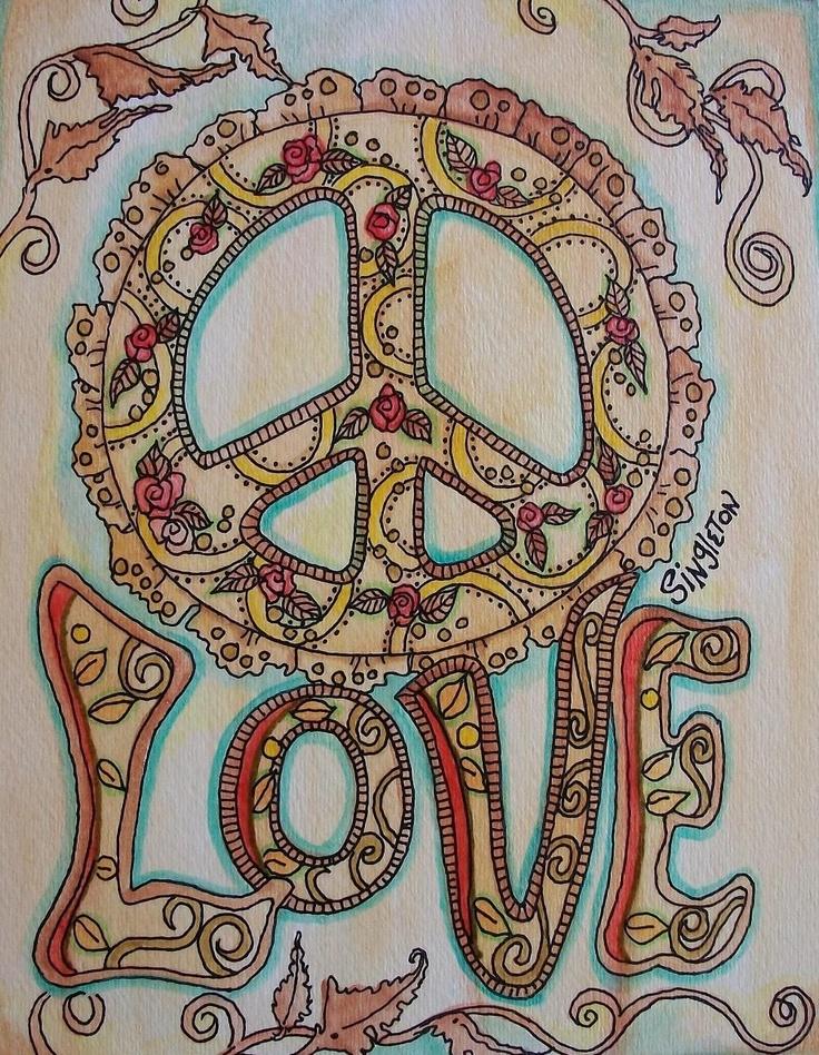 Henna Peace, Singleton Hippie Art Original. $58.00, via Etsy.
