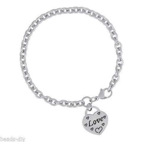 "1PC BD Fashion Dull Silver Tone Stainless Steel Cross Bracelets""Love"" DIY Gift"