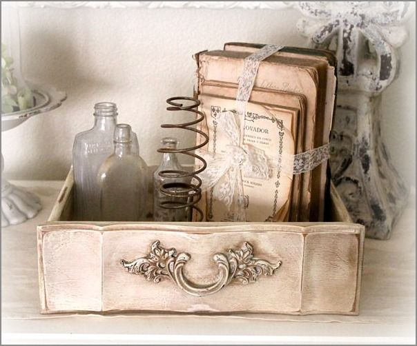 love old drawers. books. bottles. and rusty springs :)