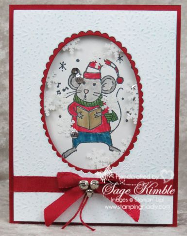 Merry Mice Christmas Shaker Card will Make Them Smile! | http://stampingmadly.com/2016/10/13/merry-christmas-shaker/