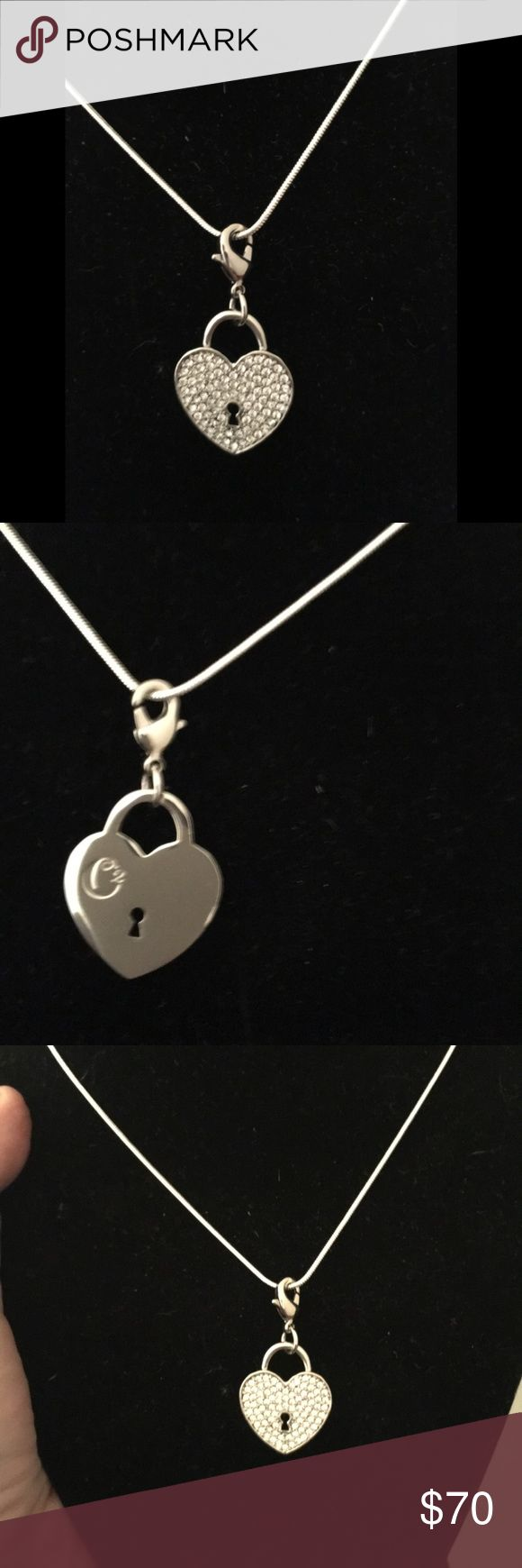 """Origami Owl Swarovski Heart dangle with necklace Origami Owl Swarovski Heart dangle and Solid Sterling Silver .925 22"""" Snake chain Necklace.  **Brand new with tags.  This is a lobster claw dangle can be taken off and put on other chains or bracelets.  *** I have 2 pair of silver hoops and puffed Heart Swarovski dangle earrings to match in another listing!   Authentic and retired Origami Owl dangle made with lead free and tarnish free medals. Chain is not Origami brand and is solid sterling…"""