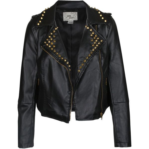 Spiked Leather Moto Jacket in Black   Buy Women's Leather Jackets at... ($99) ❤ liked on Polyvore