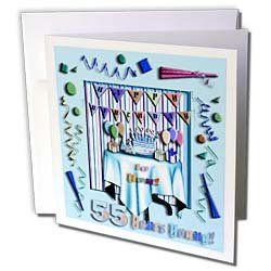 Beverly Turner Birthday Design - Birthday Room in Blue Happy Birthday to You 55 Years Young - Greeting Cards-6 Greeting Cards with envelopes by Beverly Turner Photography. $10.49. Birthday Room in Blue Happy Birthday to You 55 Years Young Greeting Card is measuring 5.5w x 5.5h. Greeting Cards are sold in sets of 6 or 12. Give these fun cards to your friends and family as gift cards, thank you notes, invitations or for any other occasion. Greeting Cards are blank inside and c...