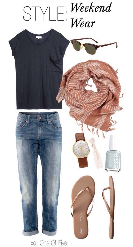 Outfit – basic solid navy blue short sleeve shirt, cropped jeans, flip flops, et…