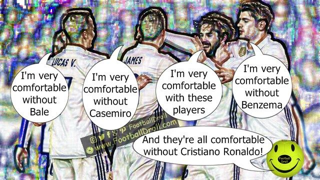 Isco Very Comfortable with the Deportivo La Coruña Line-up #Isco #James #Ronaldo #Morata #Bale #Messi #ElClasico #RealMadrid #Barcelona #HalaMadrid #FCBLive #ForçaBarça #LaLiga #CR7 #CL #Suarez #Neymar #Madrid #Barça #FCBarcelona #Jokes #Comic #Laughter #Laugh #Football #FootballDroll #Funny