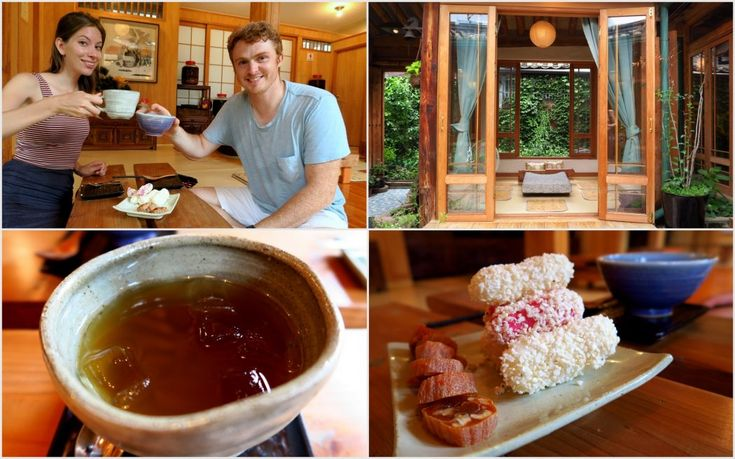 Visiting a traditional tea house in Seoul.