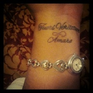 Wrist Tattoo- in Latin it says Protector, truth and Love ...
