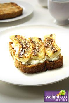 Fruit Toast Cottage Cheese & Banana. #HealthyRecipes #DietRecipes #WeightLossRecipes weightloss.com.au