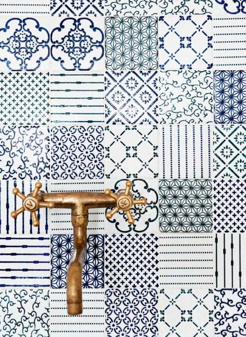 #home #details #interior #bathroom #tiles #blue #white #copper #taps