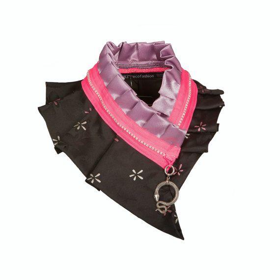 Fleurs et néon Collier Collier featuring serpent pendentif, noir Lilas mauve et tons de néon rose, collier féminin #96