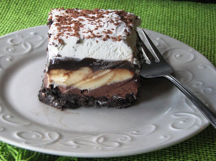 Ice Cream Cake  Ingredients:   ■2 1/2 cups crushed Oreos   ■1/2 cup melted butter   ■1/2 cup sugar   ■1/4-1/2 gallon chocolate ice cream, slightly softened   ■1/4-1/2 gallon vanilla ice cream, slightly softened   ■8 ounces Cool Whip     Hot Fudge Sauce:   ■2 cup powdered sugar   ■2/3 cup semisweet chocolate chips   ■12 ounce can evaporated milk   ■1 stick margarine   ■1 teaspoon vanilla