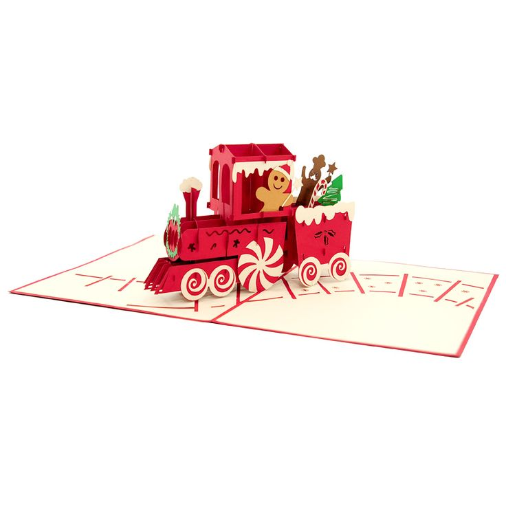 The fun Christmas friends chilling on a rolling gingerbread train will spread the holiday spirit to anyone.  http://purepopcards.com/product/gingerbread-train-pop-up-card/ #popupcardaus #popupcardsydney