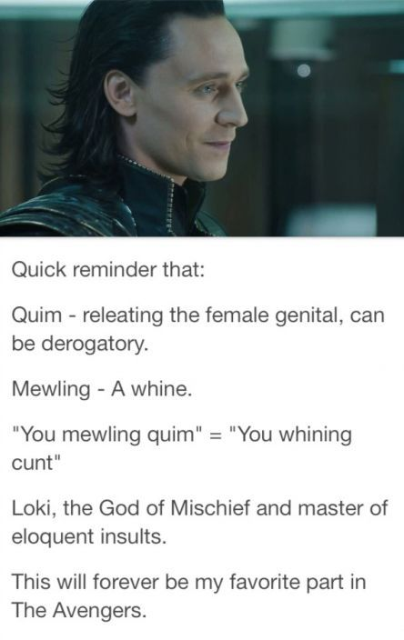 Loki: the god of insults <<<< not quite, Tom Hiddles came up with this and the director let it through cause he didn't know what it meant and didn't know it was so rude! :L