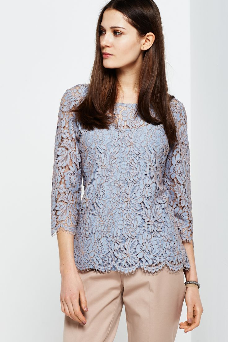 shirt met gebloemd kant
