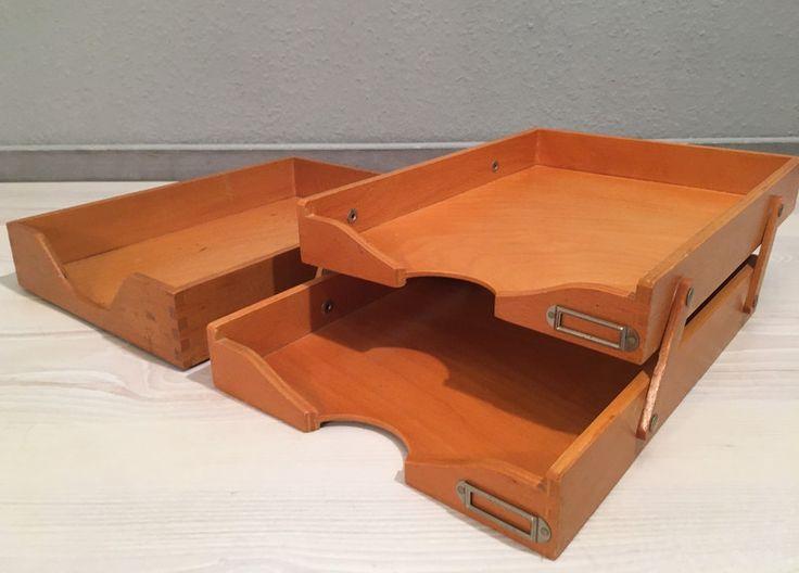 Vintage Aufbewahrung - 3 Ablagekörbe aus Holz *Mid Century*danish - ein Designerstück von Mid-Century-Frankfurt bei DaWanda
