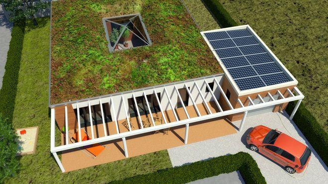 Maison ABCDConstruite autour d'un patio, la maison ABCD + est conçue dans une démarche de développement durable. La toiture végétalisée permet de créer un nouvel espace vert, alors que des panneaux photovoltaïques permettent de réaliser une énergie positive.