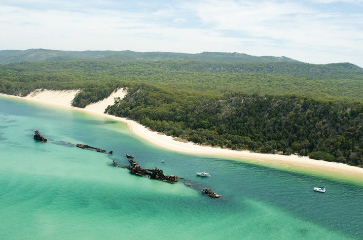 Tangalooma Wrecks from the sky