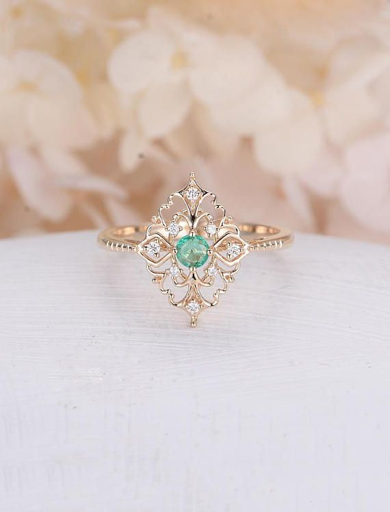 2c3b9883fc Art deco engagement ring Vintage antique Emerald engagement ring rose gold  Alternative Unique Delicate Diamond wedding women Bridal Jewelry  Description  ...