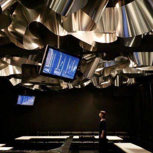 Multiple-folded aluminium materials were hanged from the ceiling of the new #restaurant in #Tokyo #Japan - which creates a bold chaotic and dark space at first sight. Designed by Moriyuki Ochiai Architects the designers use a single finite #material aluminium as a simple planar surface from which the studio created an engaging three-dimensional space that fulfills various functions and requirements at once #architecture #interior #bar #restaurant #design #space - Architecture and Home Decor…