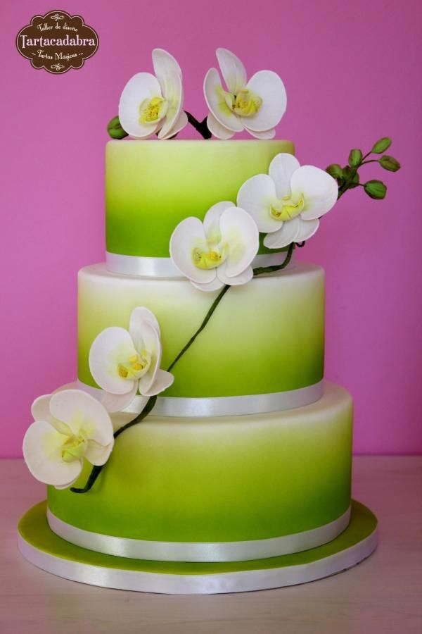 Spring Wedding Cake with moth orchids