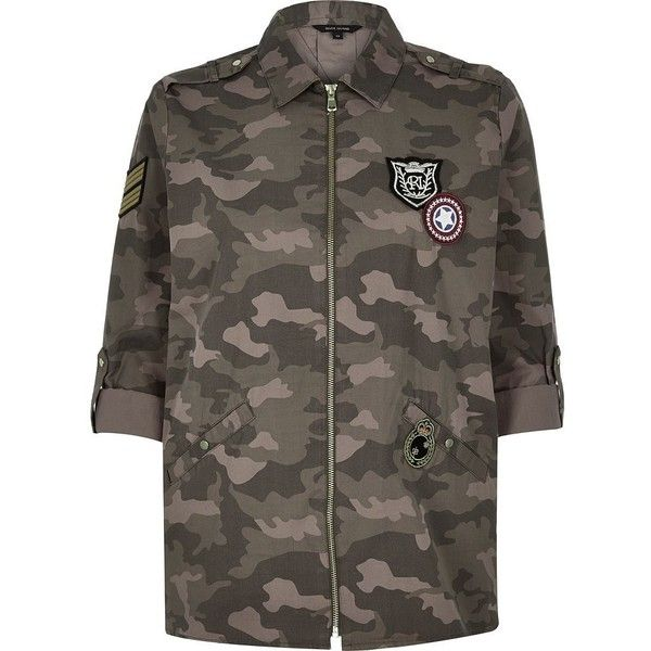 River Island Khaki camouflage print shirt jacket (1.210 ARS) ❤ liked on Polyvore featuring outerwear, jackets, coats / jackets, khaki, women, camouflage jacket, river island jacket, khaki jacket, river island and camoflauge jacket