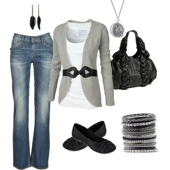 cute fall clothes: Grey Black, Fashion, Casual Outfit, Style, Dream Closet, Clothes, Black Outfit, Fall Outfit, White Top
