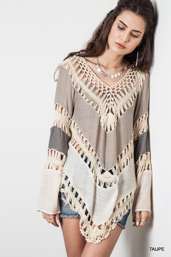 Multi Colored Crochet Top - Taupe - Knitted Belle Boutique  - 1