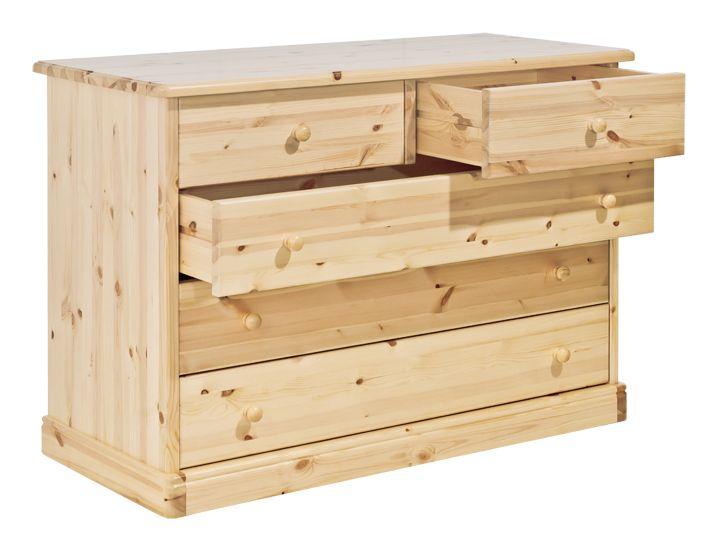 Comò rustico in legno massello di pino di Svezia, proposto in finitura naturale. www.arredamentirustici.it