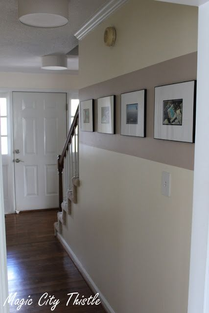 stripe down a hallway for pics.  looks too bare.  would look better with alternating color stripes and 2-3 levels of pics on entire wall