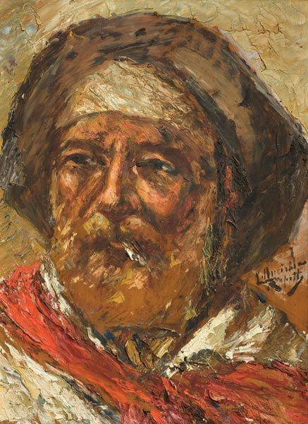 "Obra del pintor uruguayo Luis Queirolo Repetto (1862-1947) ""Gaucho"", óleo sobre fibra de 40 x 30 cm."