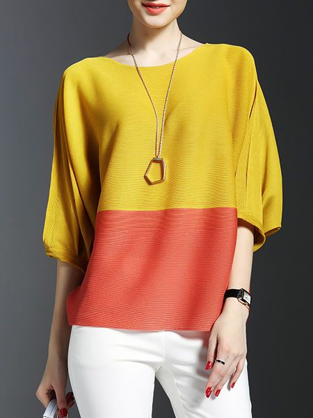 Color-block Ribbed Short Sleeved #Top