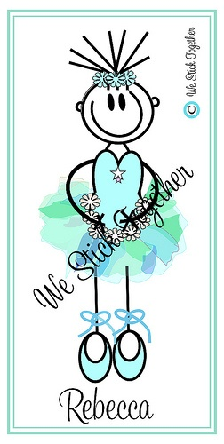 Ballerina Rebecca   All hand drawn by Jacqui  Find us on facebook https://www.facebook.com/westicktogetherstickers?ref=ts=ts