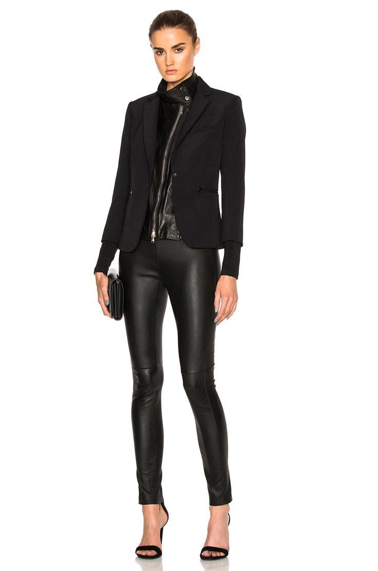 Veronica Beard Scuba Schoolboy Blazer with Leather Dickey in Black | FWRD