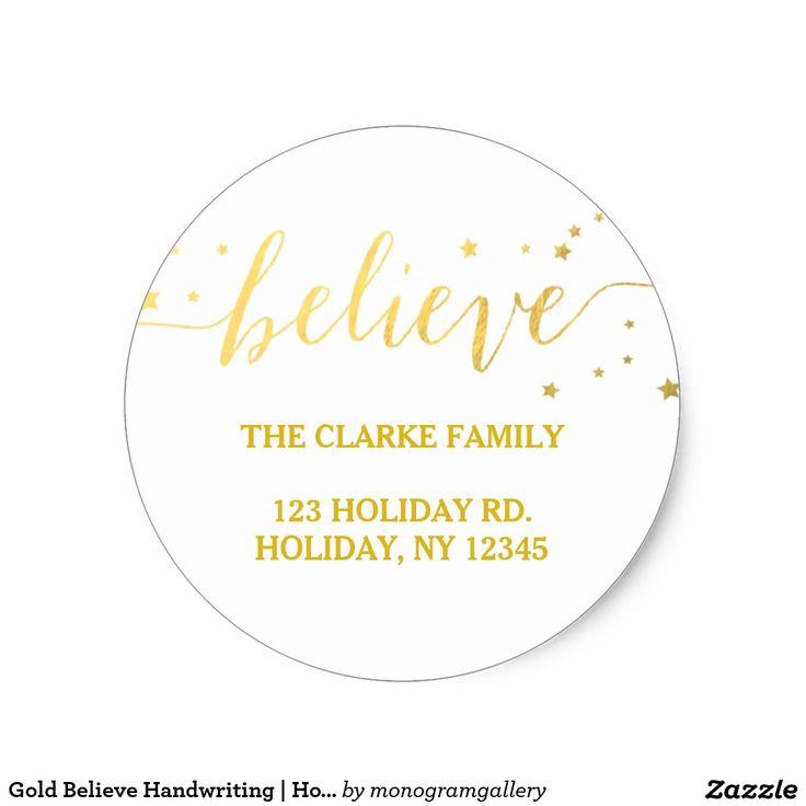 Gold Believe Handwriting   Holiday Address Sticker