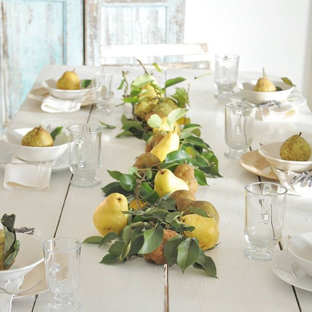Fall centerpiece of pears and greenery eclecticallyvintage.com