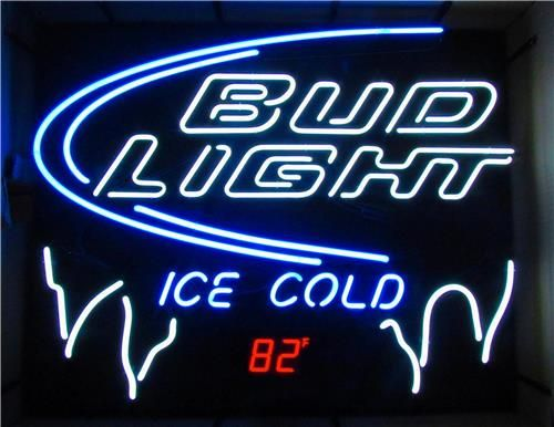 Bud Light Neon Sign With Built In Digital Thermometer
