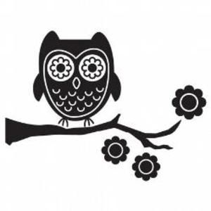 Cute Owl flowers vinyl wall art decal sticker Decor Removable bedroom nursery