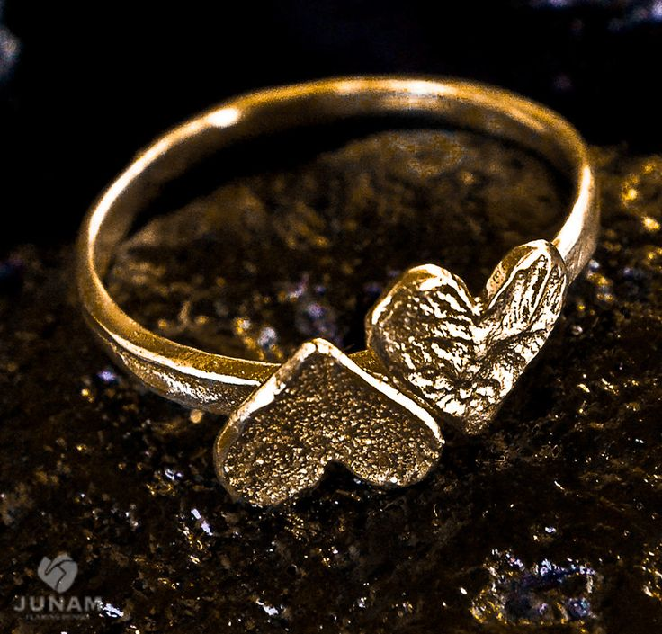 Gold Hearts Ring gold plated, valentines gift, 2 hearts, bridesmaids jewelry, gift for girlfriend, love, romantic gift, gift for teen. $54.00, via Etsy.