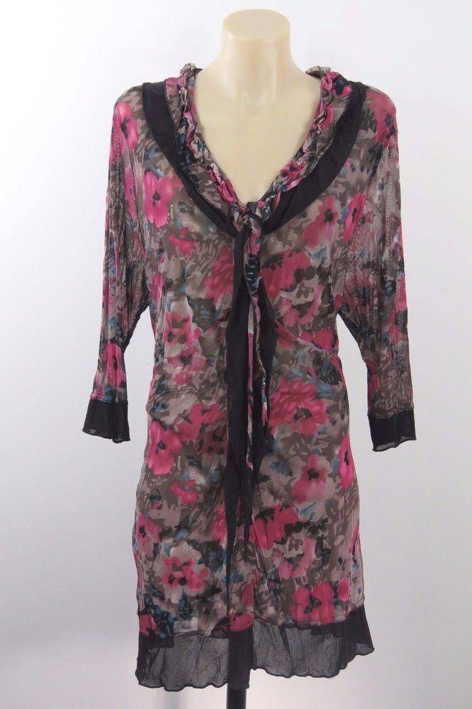 Plus Size 2XL 18 Ladies Floral Tunic Top Retro Chic Feminine Boho Sheer Design #Qior #Tunic #Casual