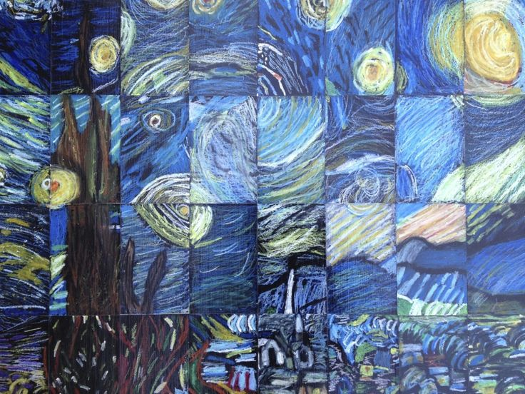 "5th Grade/Middle School Masterpiece Mosaic of ""Starry Night"" by Vincent Van Gogh  I need to show this to our art teacher. Our 5th graders create a huge art piece together every year."