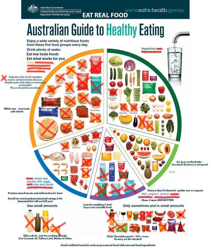 The Australian Guide to healthy eating modified for