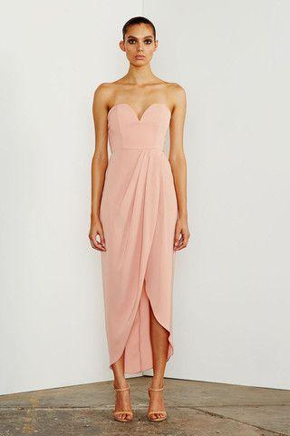 Soft style blush pink dress would be perfect bridesmaid dress from Shona Joy // CORE 'U' BUSTIER DRAPED DRESS - DUSTY PINK