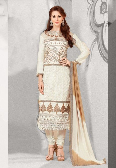 Cream Embroidered Satin Cotton Dress Material