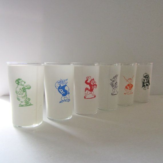 Vintage College Southwestern Conference Frosted Glassware Mascot Pennant Football College Alumni Sports. Each Glass Sold Separately. Bar